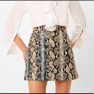 French Connection faux leather Mini Snake Skirt